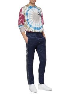 Just Don Logo leopard print outseam satin jogging pants