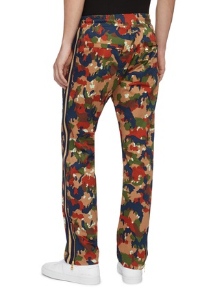 Back View - Click To Enlarge - JUST DON - Stripe outseam camouflage print silk track pants