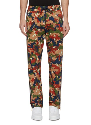 Main View - Click To Enlarge - JUST DON - Stripe outseam camouflage print silk track pants