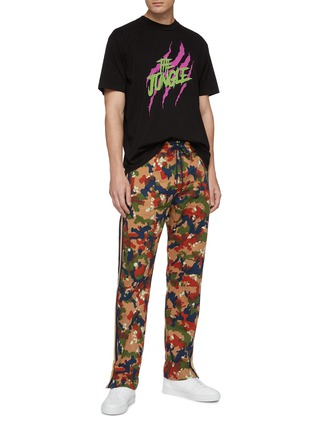 Figure View - Click To Enlarge - JUST DON - Stripe outseam camouflage print silk track pants