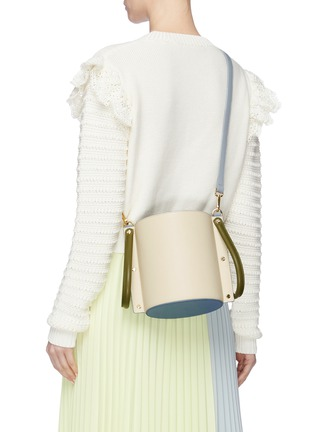 Front View - Click To Enlarge - YUZEFI - 'Cubo' colourblock leather bucket bag