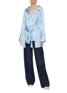 Hellessy 'Clark' sash tie waist panel silk satin shirt