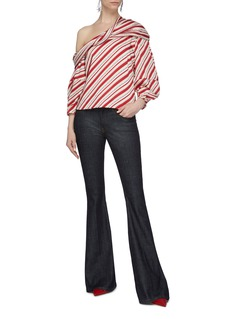 Hellessy 'Flora' stripe twill folded one-shoulder top
