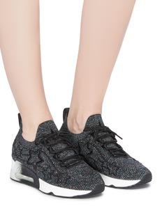 ASH 'Lunatic Star' appliqué metallic knit sneakers