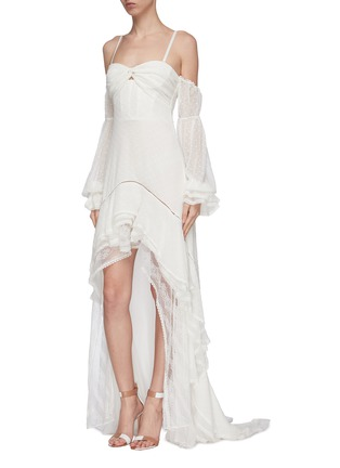 Front View - Click To Enlarge - JONATHAN SIMKHAI - Tie gathered sleeve tiered off-shoulder silk chiffon high-low gown