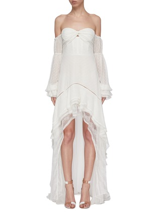 Main View - Click To Enlarge - JONATHAN SIMKHAI - Tie gathered sleeve tiered off-shoulder silk chiffon high-low gown
