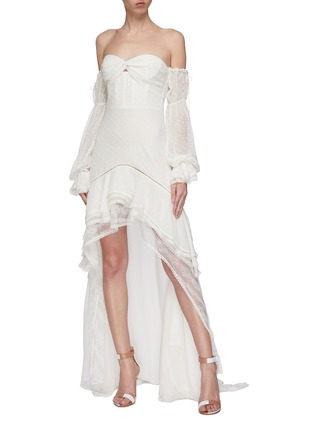 Figure View - Click To Enlarge - JONATHAN SIMKHAI - Tie gathered sleeve tiered off-shoulder silk chiffon high-low gown