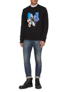 Neil Barrett Spliced photographic floral print sweatshirt