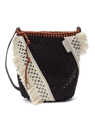 3 1 Phillip Lim Marlee Mini Colourblock Crochet Knit Panel Woven Crossbody Bag