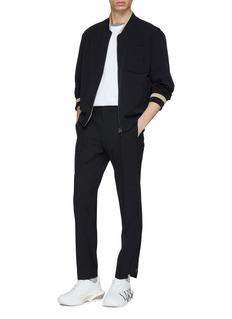 WOOYOUNGMI Staggered zip cuff wool blend gabardine pants