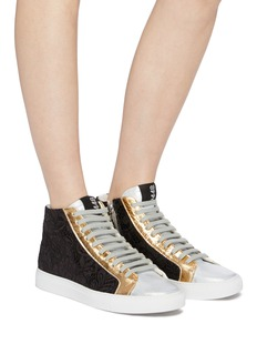 P448 'E9 Star 2.0' panelled leather high top sneakers