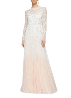 Needle & Thread 'Pearl Rose' embellished bow cutout back tulle gown