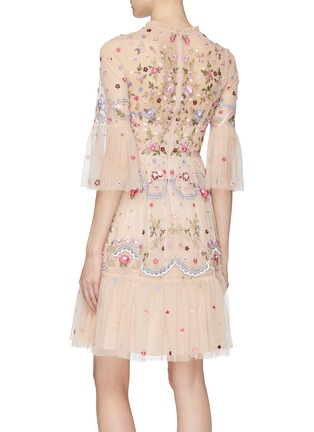 Back View - Click To Enlarge - NEEDLE & THREAD - 'Dreamers Lace' floral embellished tiered tulle dress