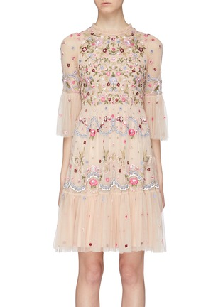Main View - Click To Enlarge - NEEDLE & THREAD - 'Dreamers Lace' floral embellished tiered tulle dress