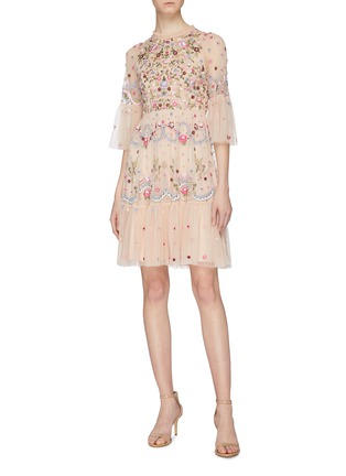 Figure View - Click To Enlarge - NEEDLE & THREAD - 'Dreamers Lace' floral embellished tiered tulle dress