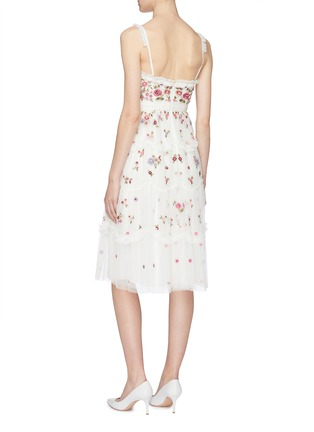 Back View - Click To Enlarge - Needle & Thread - 'Midsummer Ditsy' ruffle trim floral embellished tulle dress
