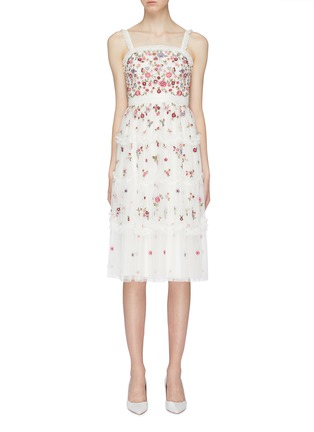 Main View - Click To Enlarge - Needle & Thread - 'Midsummer Ditsy' ruffle trim floral embellished tulle dress