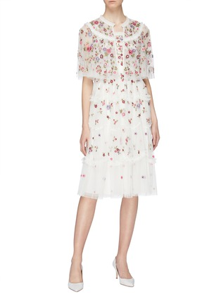 Figure View - Click To Enlarge - NEEDLE & THREAD - 'Midsummer Ditsy' ruffle trim floral embellished tulle dress