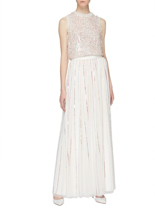 Figure View - Click To Enlarge - Needle & Thread - 'Shimmer Sequin' pleated tulle maxi skirt