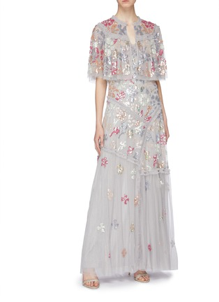 Figure View - Click To Enlarge - Needle & Thread - 'Deconstructed Sequin' ruffle trim tulle gown