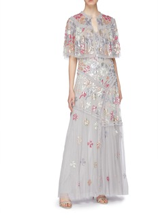 Needle & Thread 'Deconstructed Sequin' ruffle trim tulle gown