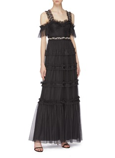 Needle & Thread 'Helena' embellished waist tiered off-shoulder tulle gown