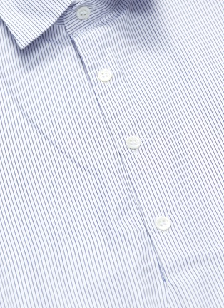 - BARENA - 'Pioppa Stecca' stripe half button placket short sleeve shirt