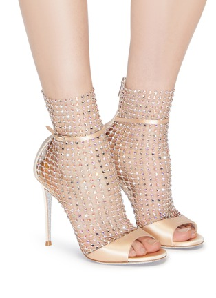 Figure View - Click To Enlarge - RENÉ CAOVILLA - 'Galaxia' strass cage satin sandals