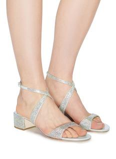 René Caovilla Strass cross strap satin sandals