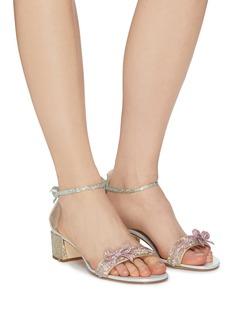 René Caovilla Ankle strap bow strass sandals