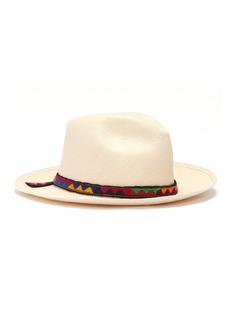 Sensi Studio Simiatug embroidered trim toquilla palm straw fedora hat