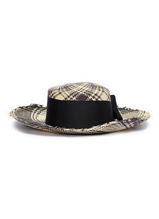 Sensi Studio Bow check plaid toquilla palm straw hat