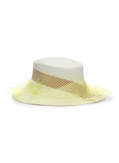 Sensi Studio 'Amal' tulle ribbon toquilla palm straw hat