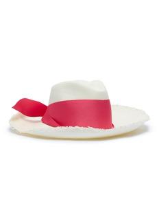 Sensi Studio Ribbon frayed toquilla palm straw hat