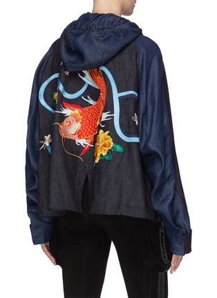 Back View - Click To Enlarge - ANGEL CHEN - Koi fish graphic appliqué denim windbreaker jacket