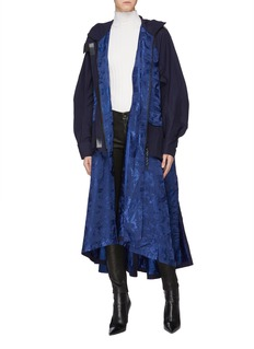 Angel Chen Dragon jacquard windbreaker panel hooded coat