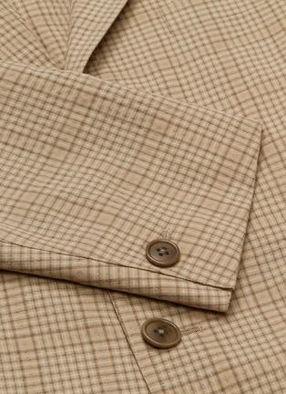 - Camoshita - Check plaid wool-cotton seersucker blazer