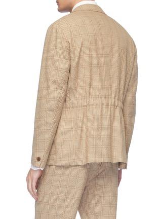 Back View - Click To Enlarge - Camoshita - Check plaid wool-cotton seersucker blazer