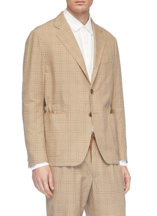 Front View - Click To Enlarge - Camoshita - Check plaid wool-cotton seersucker blazer