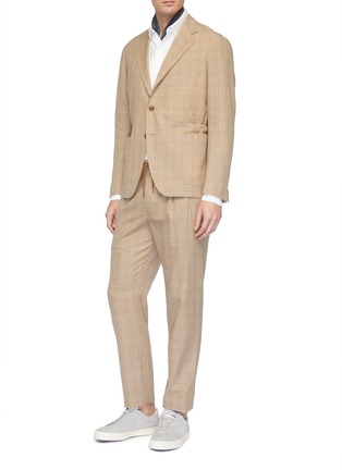 Figure View - Click To Enlarge - Camoshita - Check plaid wool-cotton seersucker blazer