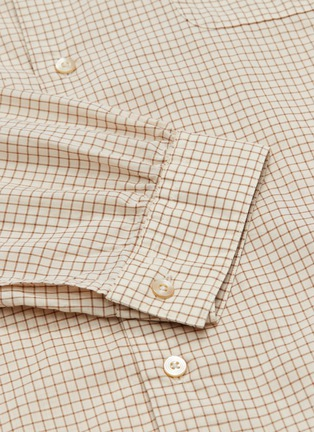 - Camoshita - Mandarin collar grid print cotton-cupro shirt