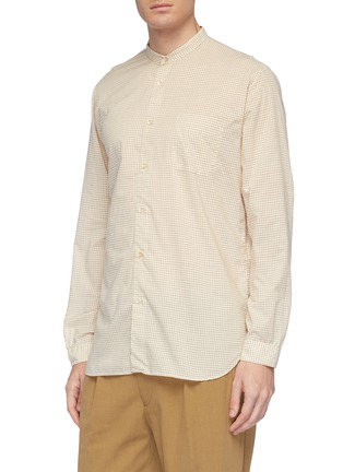 Front View - Click To Enlarge - Camoshita - Mandarin collar grid print cotton-cupro shirt