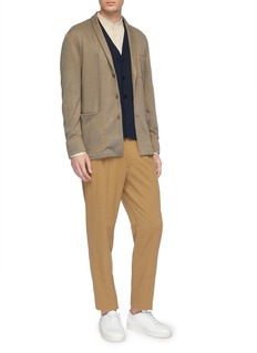 Camoshita Mandarin collar grid print cotton-cupro shirt