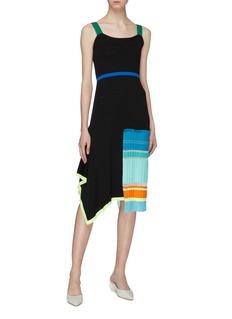 i-am-chen Asymmetric patchwork sleeveless knit dress