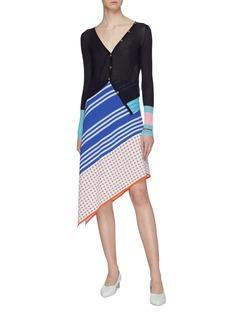 i-am-chen Colourblock cuff asymmetric silk cardigan