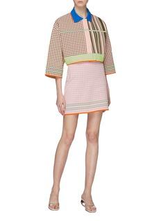 i-am-chen Graphic intarsia colourblock cropped knit jacket
