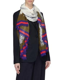 Franco Ferrari Contrast border feather print scarf