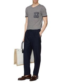 Eidos Graphic print chest pocket stripe linen T-shirt