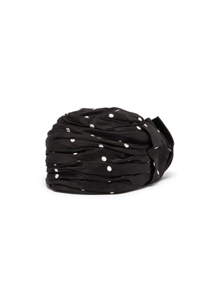 Figure View - Click To Enlarge - Maison Michel - 'Betty' bow polka dot embroidered satin turban
