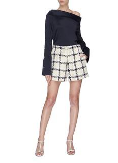 Monse Check tweed drawstring shorts